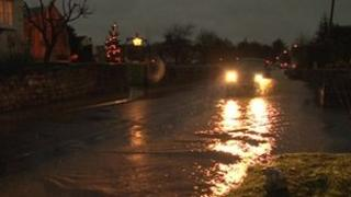Flooded road in Saxton