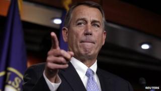 US House Speaker John Boehner speaks to the media on 20 Dec 2012