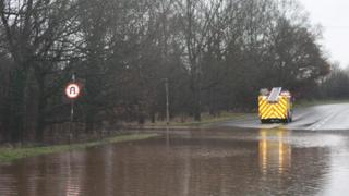 Flooding on the A34