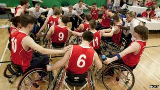 Chris playing with the GB wheelchair basketball team