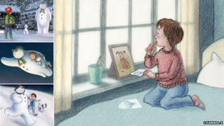 Scenes from The Snowman and The Snowdog, bedroom scene by Roger Mainwood