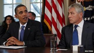 Barack Obama and Chuck Hagel. 4 Dec 2012