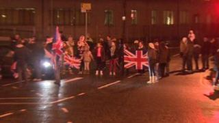 A protest is taking place at Sandy Row