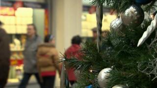Christmas tree in Carmarthen shopping street