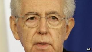 Mario Monti at a press conference in Rome, 23 December 2012