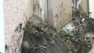 Part of the collapsed wall in Pontypridd