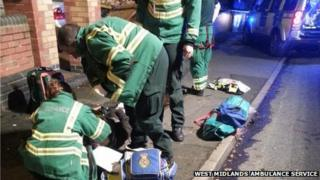 Ambulance staff at the scene