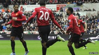 Manchester United celebrate their goal