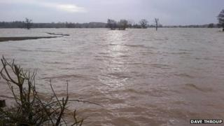 Flood water at Severn Stoke in Worcestershire