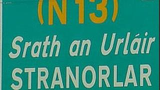 Road sign for Stranorlar