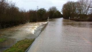 Flooding on the A417 near Maisemore - 27 December 2012
