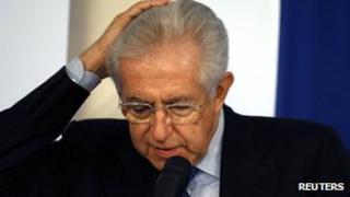 Italy's outgoing Prime Minister Mario Monti (23 Dec 2012)
