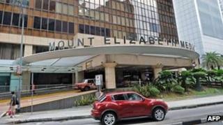 This general view shows Mount Elizabeth medical centre and hospital in Singapore on December 27, 2012.