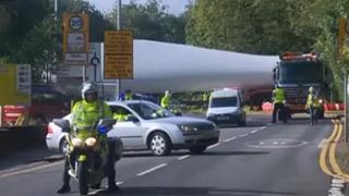 Turbines being transported through the Pontardawe area for the Mynydd y Betws wind farm
