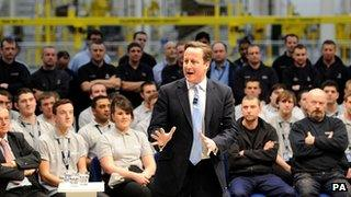 David Cameron speaking to apprentices and engineers on a recent visit to an Airbus factory