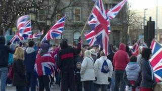 Another protest was held at Belfast City Hall on Saturday