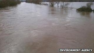 The River Wye at Holme Lacy Bridge, Hereford, on Sunday.