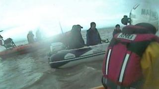 RNLI rescue near Birnbeck Pier, Somerset