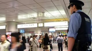 Policeman in Tokyo, stock picture