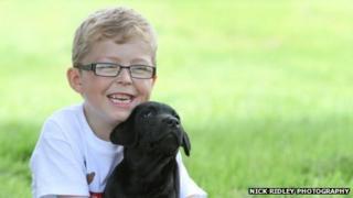 Logan with Logan the puppy