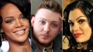 Rihanna, James Arthur and Jessie J