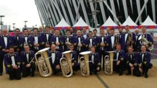 Band outside Olympic stadium