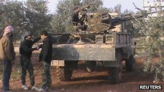Rebel fighters near Taftanaz - 2 January