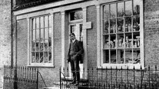 Albert Fairhead outside during his first year as the new owner of Itteringham Village Shop in 1908