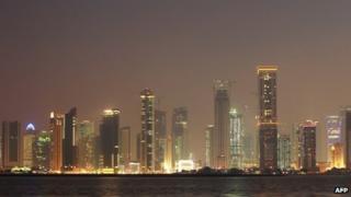 Doha's skyline at night