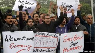 Members of Youth Bhagwan Valmiki Mahasangh Punjab demonstrating in Amritsar