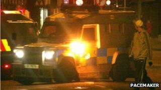 A petrol bomb was thrown at a PSNI vehicle on Castlereagh Street at about 19:40 GMT