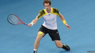 Britain's Andy Murray playing in the semi-final of the Brisbane International.