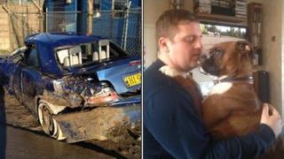 Joe Nixon's BMW at recovery yard and Joe Nixon and Buddy