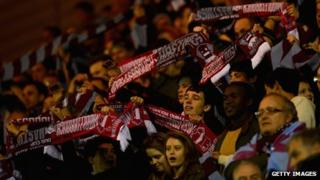 Hastings United fans at Middlesbrough