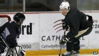 Sidney Crosby from the Pittsburgh Penguins in training