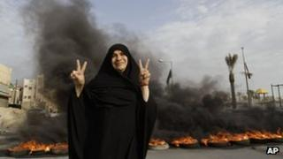 Anti-government protester in the village of Dumistan, Bahrain, on 7/1/13