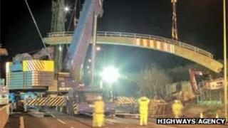 Pegwell Brake bridge being removed