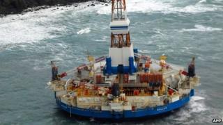 Kulluk oil drilling rig aground on Sitkalidak Island on Sunday