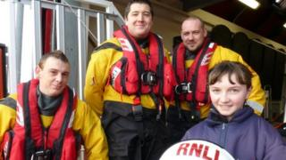 Rachel Fairhurst and the RNLI Newbiggin crew