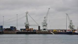 Cranes at St Peter Port Harbour in Guernsey