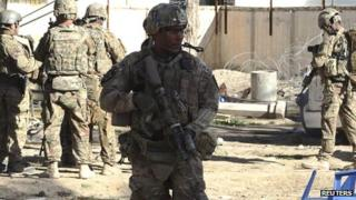 US troops arrive at the site of a suicide attack in the Spin Boldak district of Kandahar province on 6 January 2013