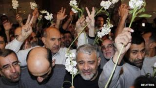 Iranian hostages celebrate their release by Syrian rebels in Damascus (9 January 2013)