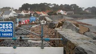 Repairs to the sea wall along Perelle coast road
