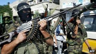 Armed members of the al-Aqsa Martyrs' Brigades in Gaza (2005)