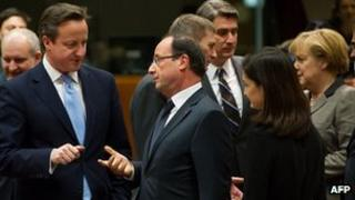 David Cameron with French President Francois Hollande and German Chancellor Angela Merkel