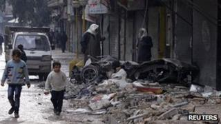 Shelling damage in al-Mashhad district of Aleppo. 9 Jan 2013