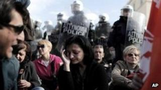 Public sector workers in Athens protesting about the threat of compulsory redundancies
