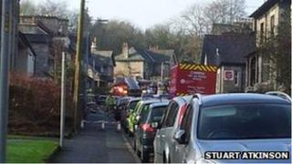 The scene of a suspected chemical leak in Gillinggate, Kendal
