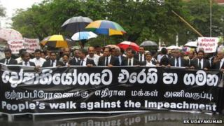 Lawyers in Sri Lanka protest on Thursday