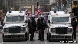 Police at loyalist protest